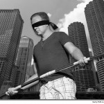 Nik blindfolded